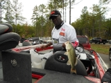 Tommy Robinson largemouth bass from livewell